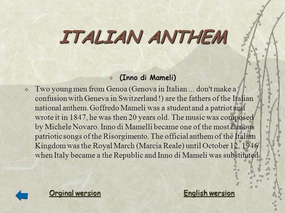 ITALIAN ANTHEM (Inno di Mameli)