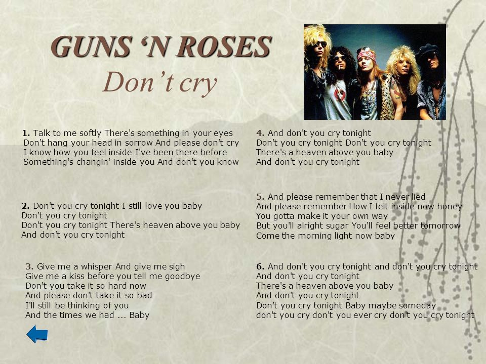GUNS 'N ROSES Don't cry