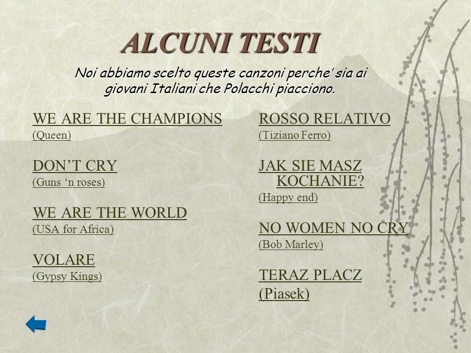 ALCUNI TESTI WE ARE THE CHAMPIONS DON'T CRY WE ARE THE WORLD VOLARE