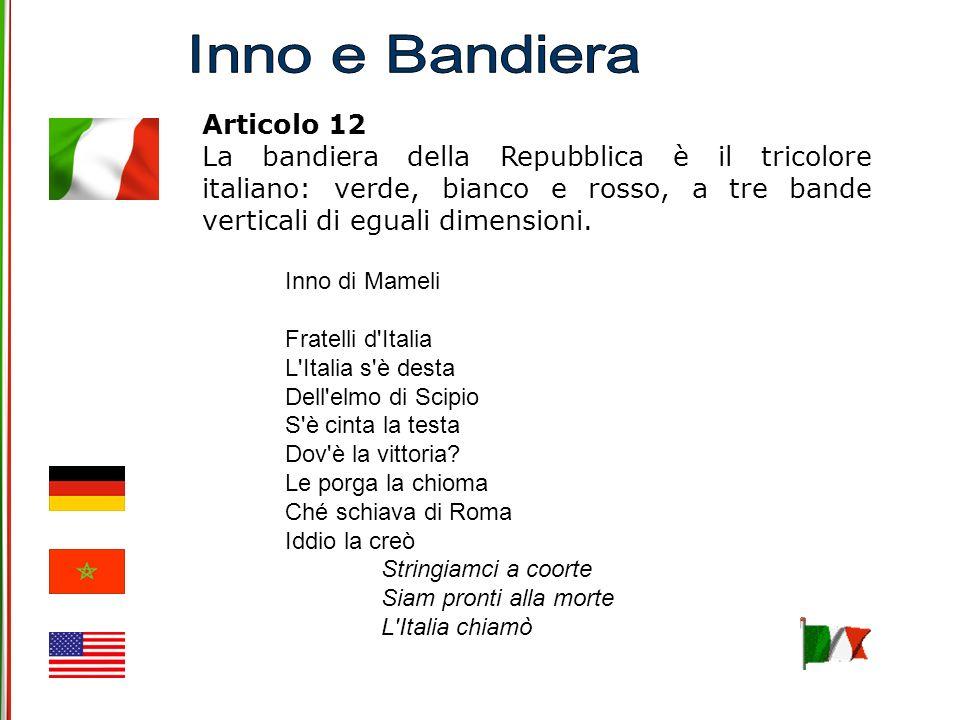 Inno e Bandiera Articolo 12.