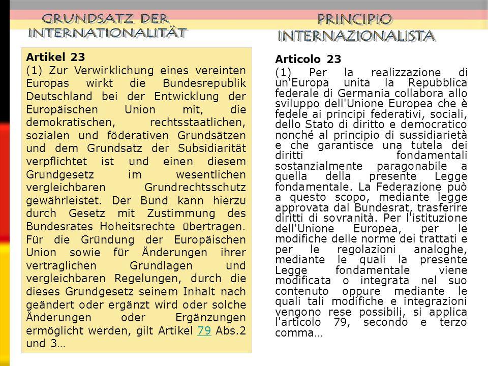 GRUNDSATZ DER INTERNATIONALITÄT PRINCIPIO INTERNAZIONALISTA Artikel 23