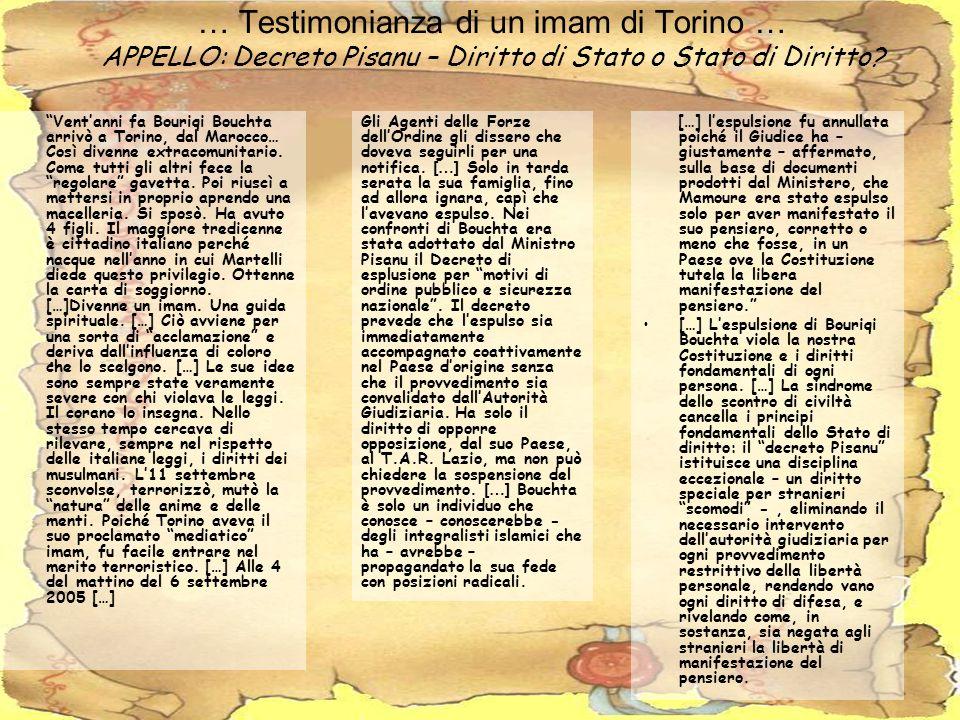 … Testimonianza di un imam di Torino … APPELLO: Decreto Pisanu – Diritto di Stato o Stato di Diritto