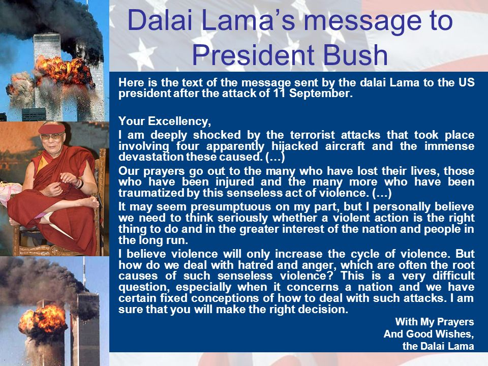 Dalai Lama's message to President Bush