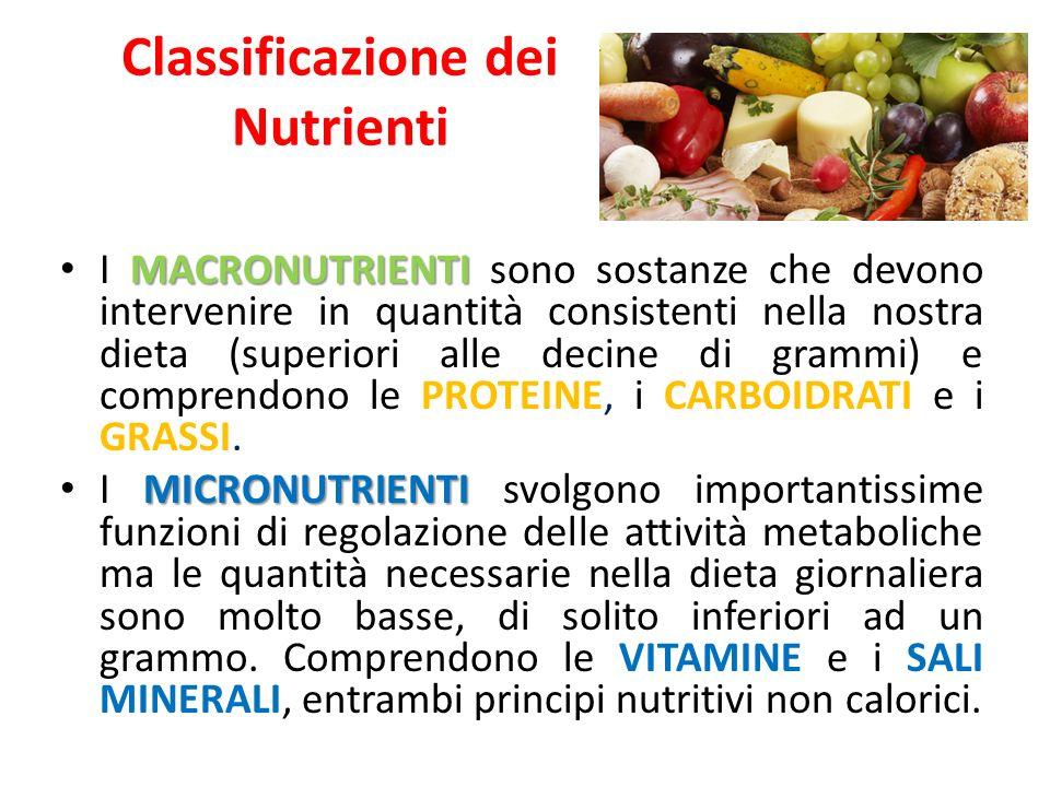 Classificazione dei Nutrienti