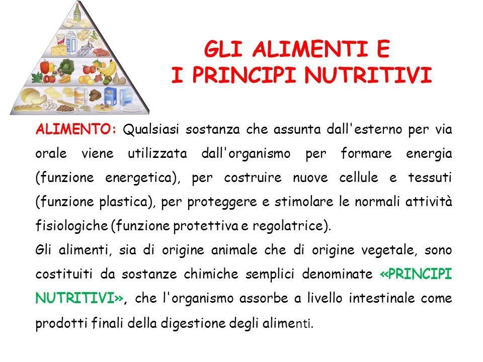 GLI ALIMENTI E I PRINCIPI NUTRITIVI