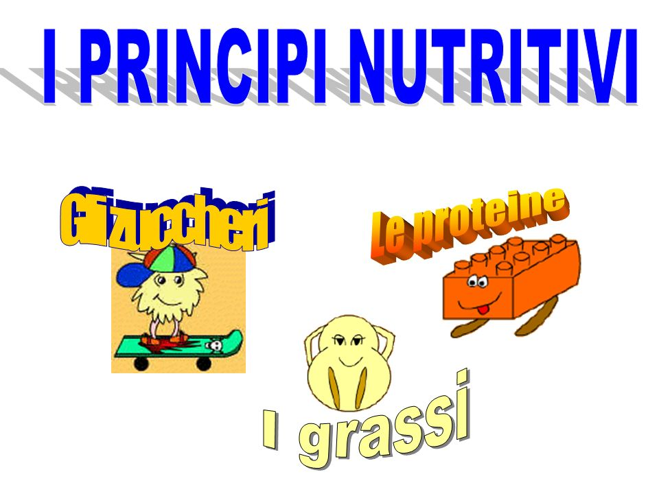 I PRINCIPI NUTRITIVI Gli zuccheri Le proteine I grassi