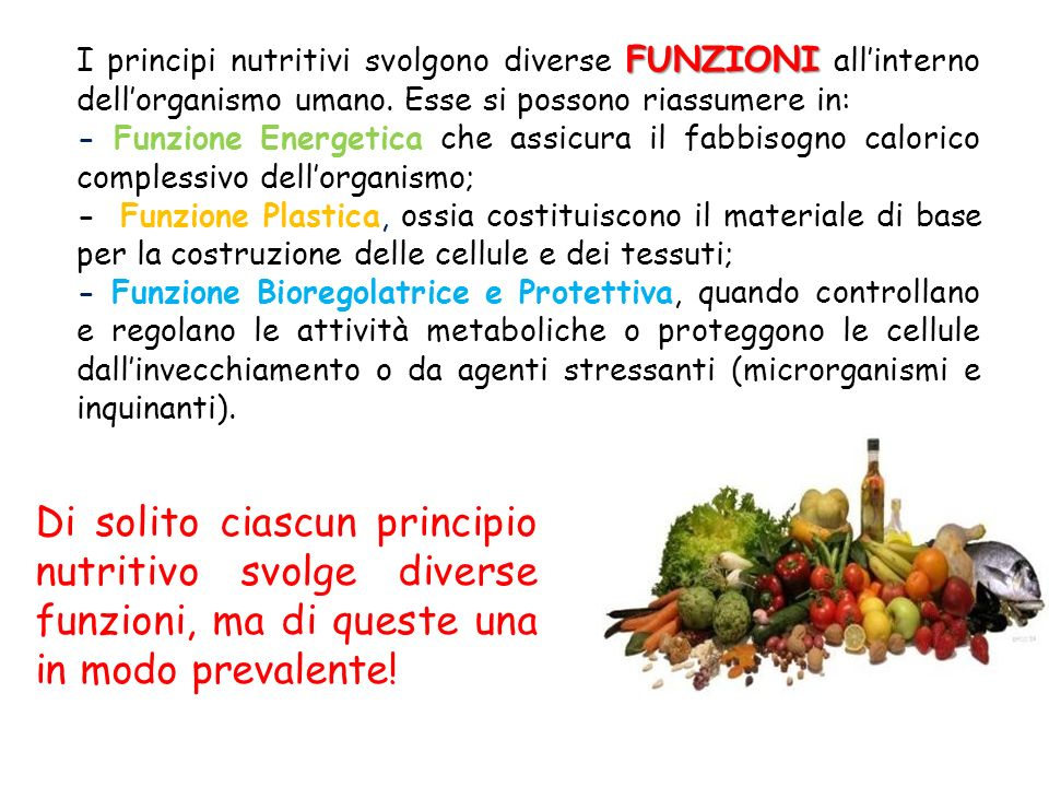 I principi nutritivi svolgono diverse FUNZIONI all'interno dell'organismo umano. Esse si possono riassumere in: