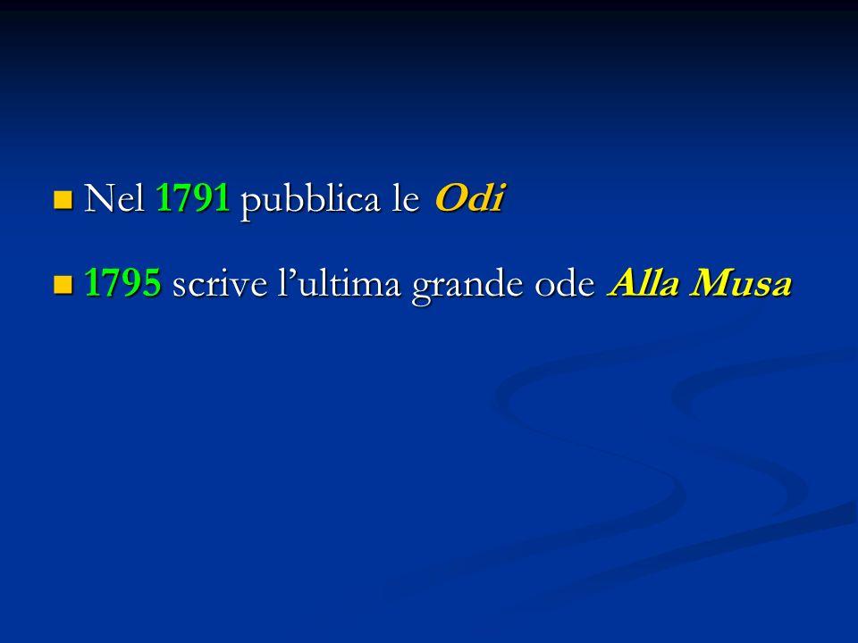 Nel 1791 pubblica le Odi 1795 scrive l'ultima grande ode Alla Musa