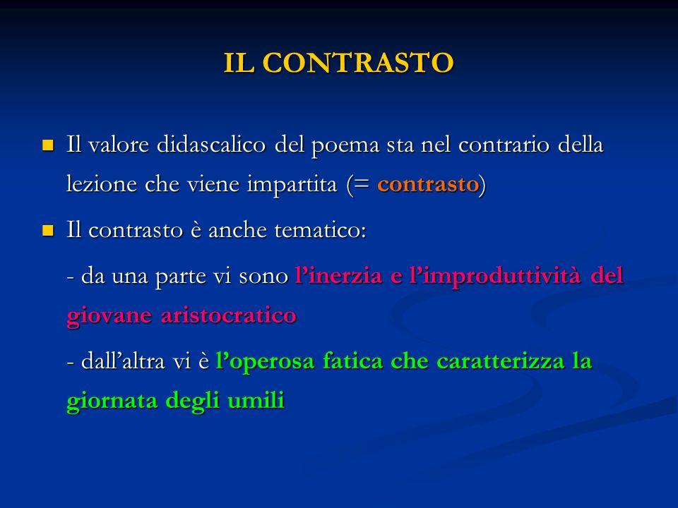 IL CONTRASTO Il valore didascalico del poema sta nel contrario della lezione che viene impartita (= contrasto)