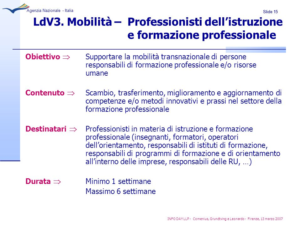 LdV3. Mobilità –. Professionisti dell'istruzione