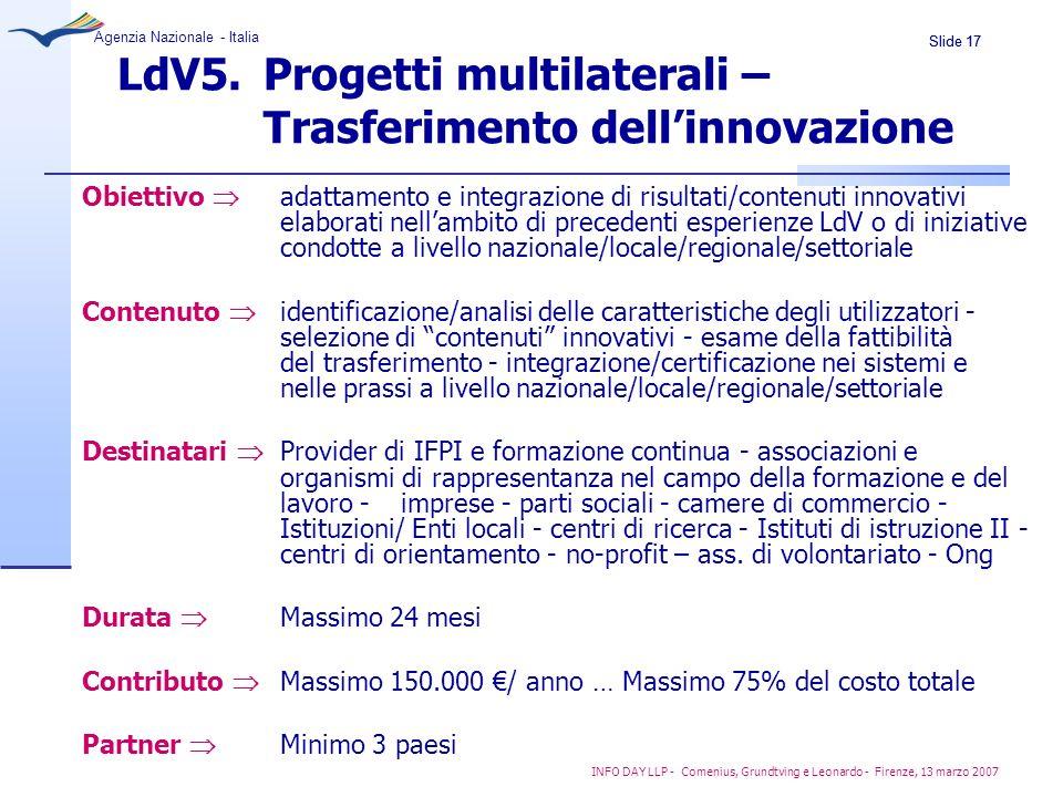 LdV5. Progetti multilaterali – Trasferimento dell'innovazione