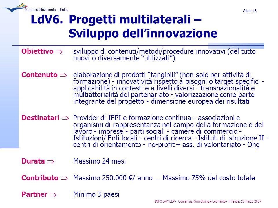 LdV6. Progetti multilaterali – Sviluppo dell'innovazione