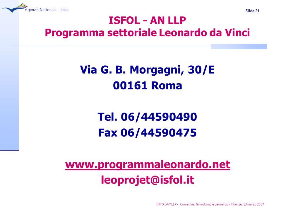 ISFOL - AN LLP Programma settoriale Leonardo da Vinci