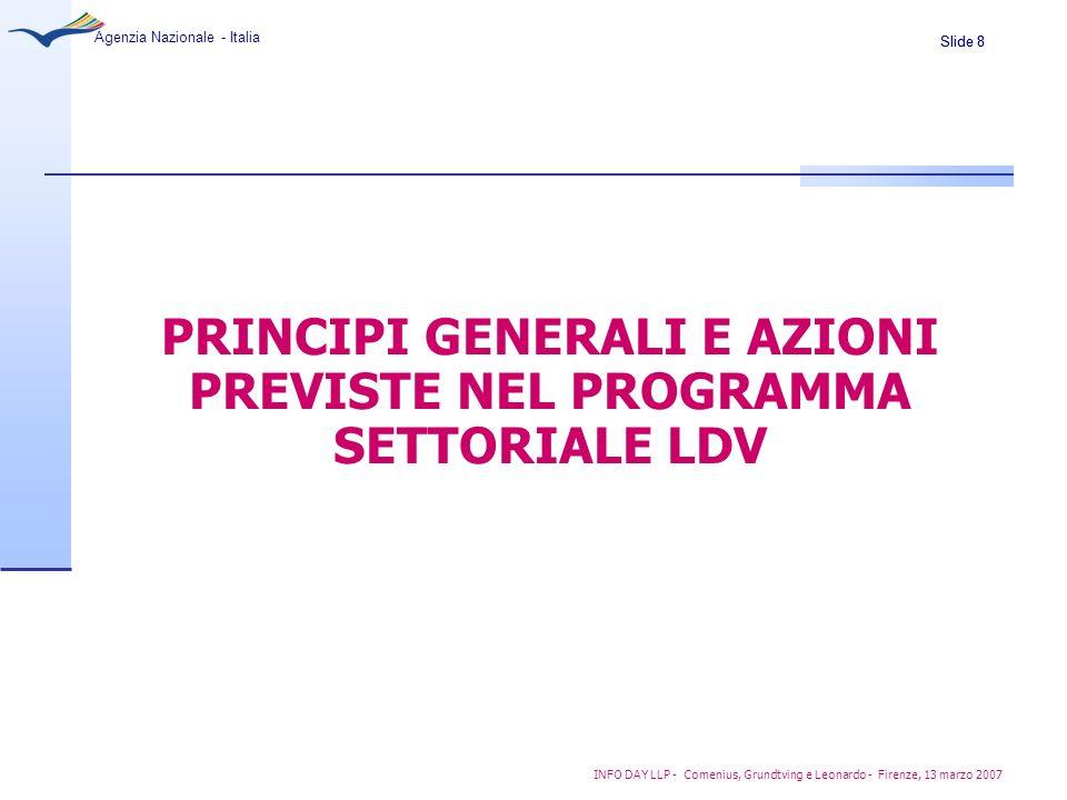 PRINCIPI GENERALI E AZIONI PREVISTE NEL PROGRAMMA SETTORIALE LDV