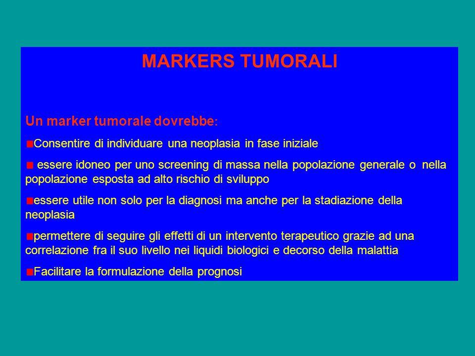MARKERS TUMORALI Un marker tumorale dovrebbe: