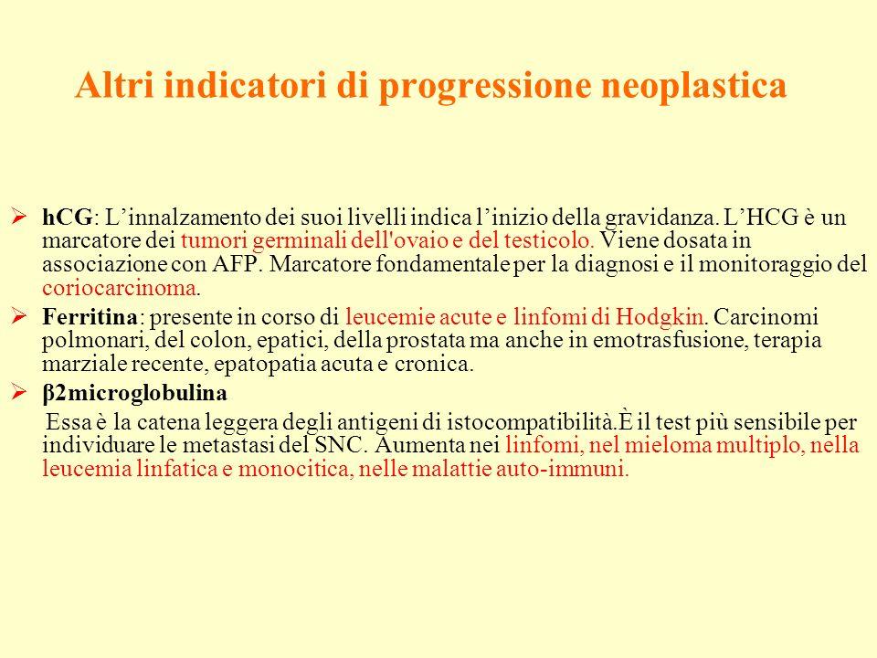 Altri indicatori di progressione neoplastica