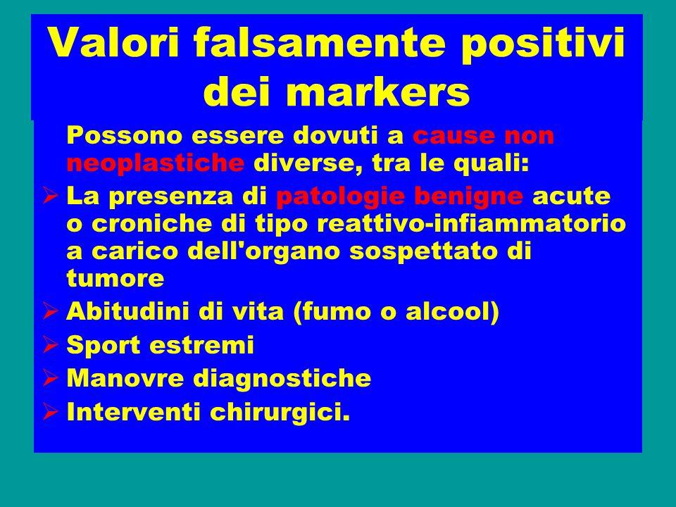 Valori falsamente positivi dei markers
