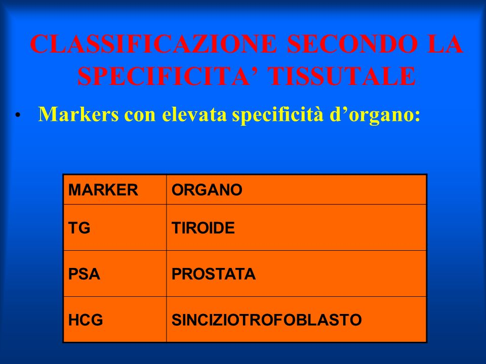 CLASSIFICAZIONE SECONDO LA SPECIFICITA' TISSUTALE