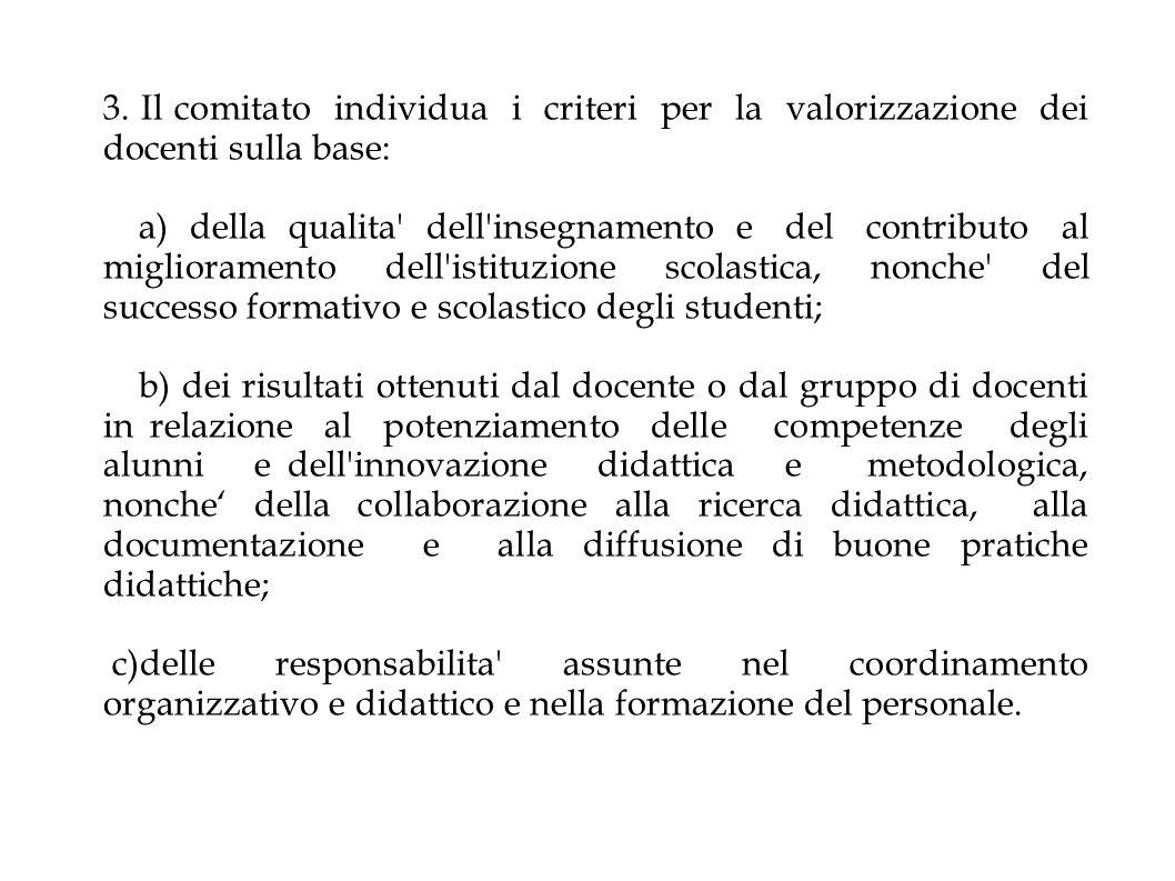 3. Il comitato individua i criteri per la valorizzazione dei docenti sulla base: