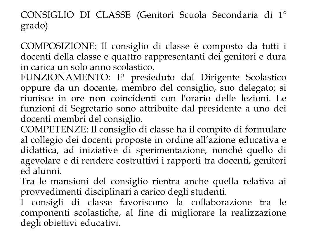 CONSIGLIO DI CLASSE (Genitori Scuola Secondaria di 1° grado)