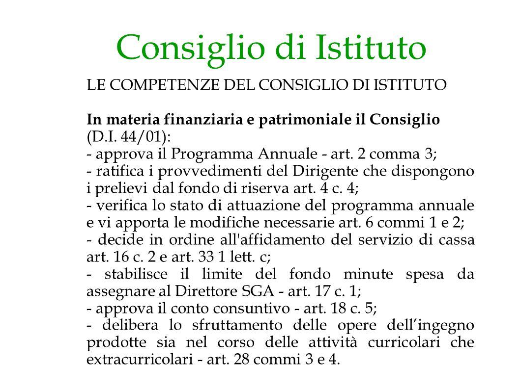 Consiglio di Istituto LE COMPETENZE DEL CONSIGLIO DI ISTITUTO