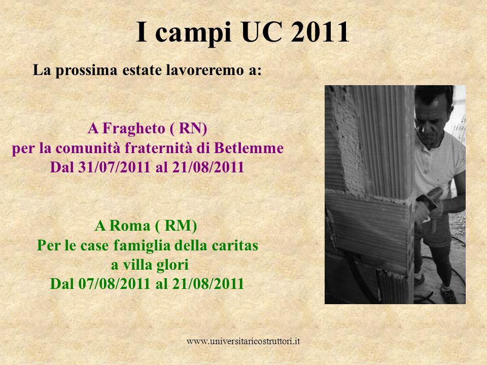 I campi UC 2011 La prossima estate lavoreremo a: A Fragheto ( RN)