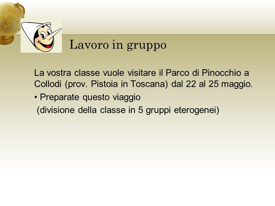 Lavoro in gruppo La vostra classe vuole visitare il Parco di Pinocchio a Collodi (prov. Pistoia in Toscana) dal 22 al 25 maggio.