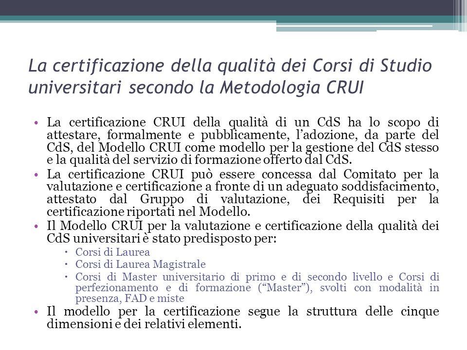 La certificazione della qualità dei Corsi di Studio universitari secondo la Metodologia CRUI