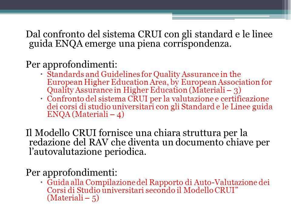 Dal confronto del sistema CRUI con gli standard e le linee guida ENQA emerge una piena corrispondenza.