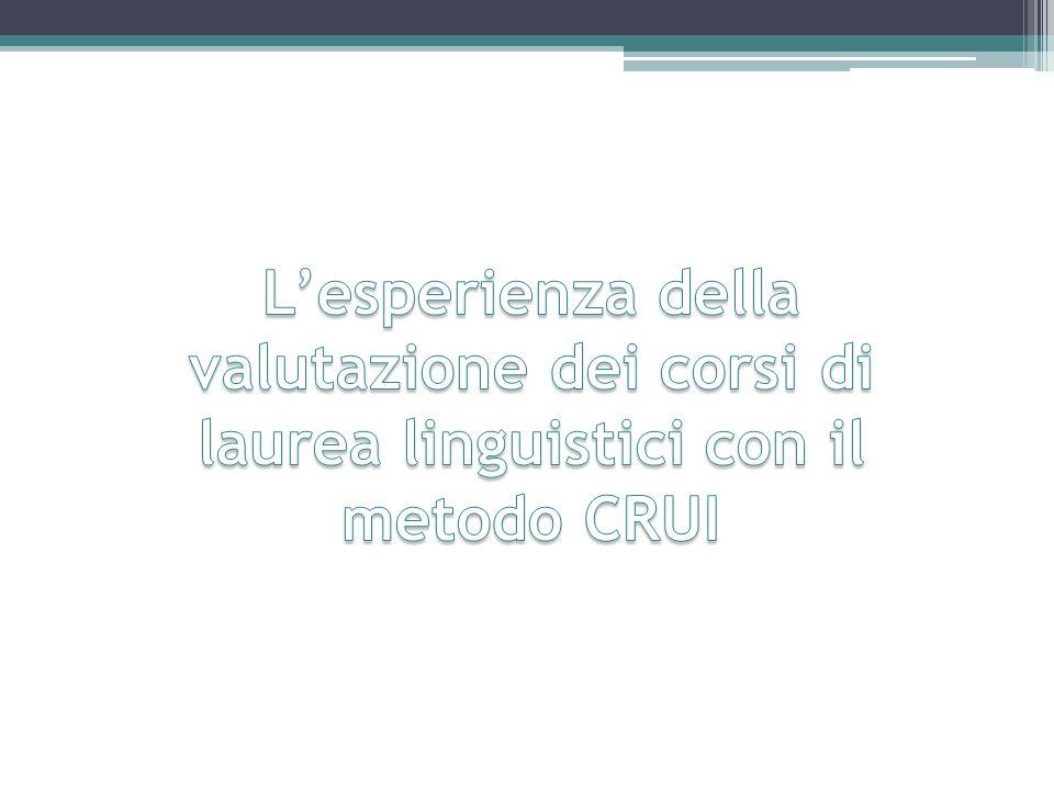 L'esperienza della valutazione dei corsi di laurea linguistici con il metodo CRUI