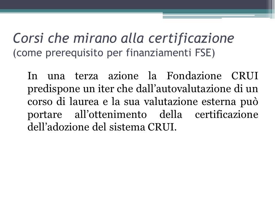 Corsi che mirano alla certificazione (come prerequisito per finanziamenti FSE)