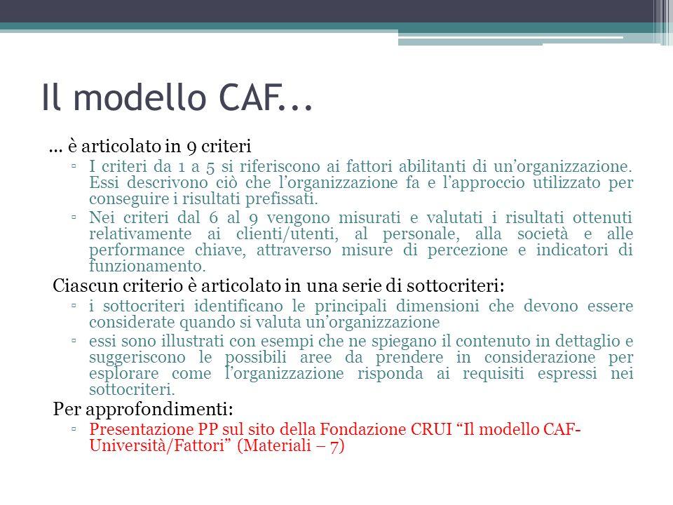 Il modello CAF... ... è articolato in 9 criteri