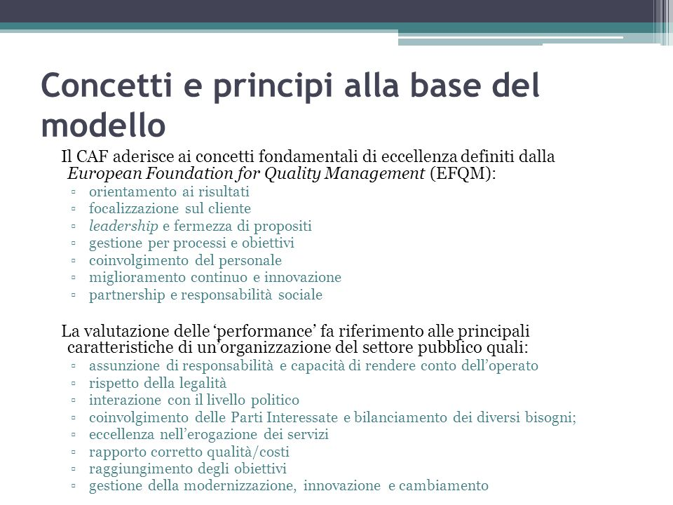 Concetti e principi alla base del modello