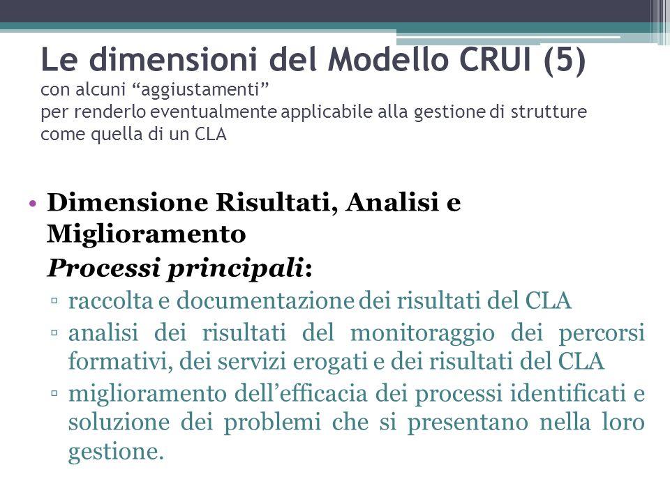 Le dimensioni del Modello CRUI (5) con alcuni aggiustamenti per renderlo eventualmente applicabile alla gestione di strutture come quella di un CLA