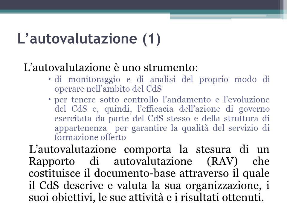 L'autovalutazione (1) L'autovalutazione è uno strumento: