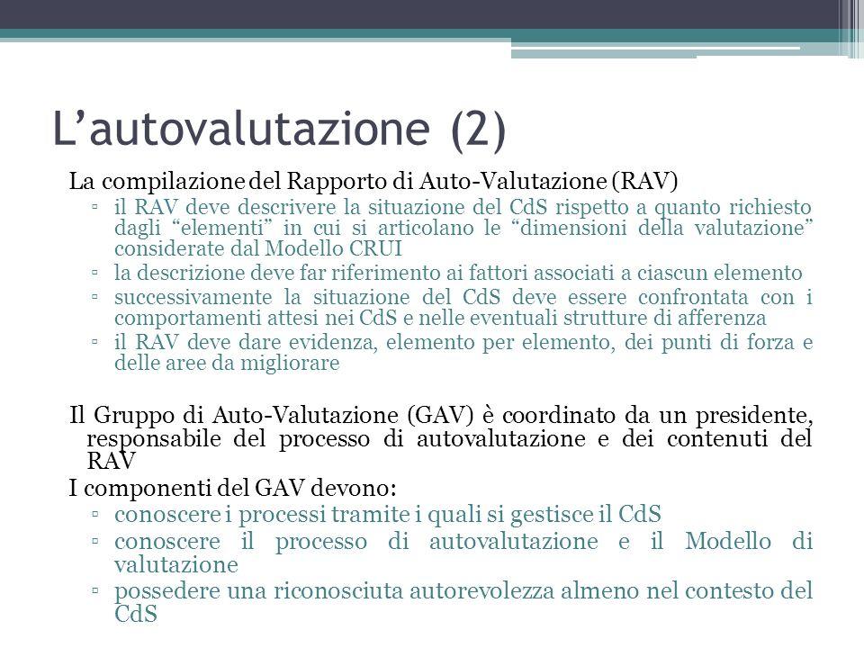 L'autovalutazione (2) La compilazione del Rapporto di Auto-Valutazione (RAV)