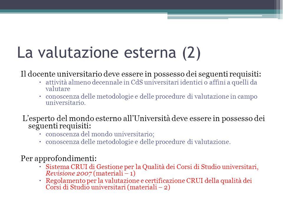 La valutazione esterna (2)