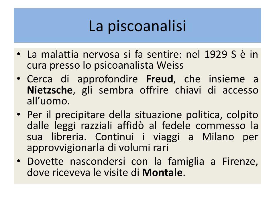 La piscoanalisi La malattia nervosa si fa sentire: nel 1929 S è in cura presso lo psicoanalista Weiss.