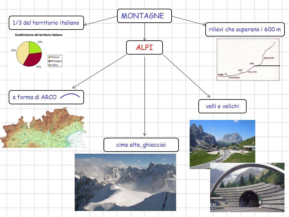 MONTAGNE ALPI 1/3 del territorio italiano rilievi che superano i 600 m