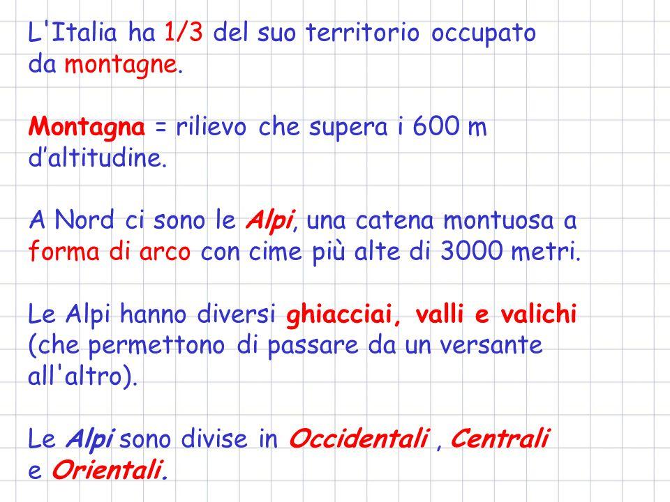 L Italia ha 1/3 del suo territorio occupato da montagne.