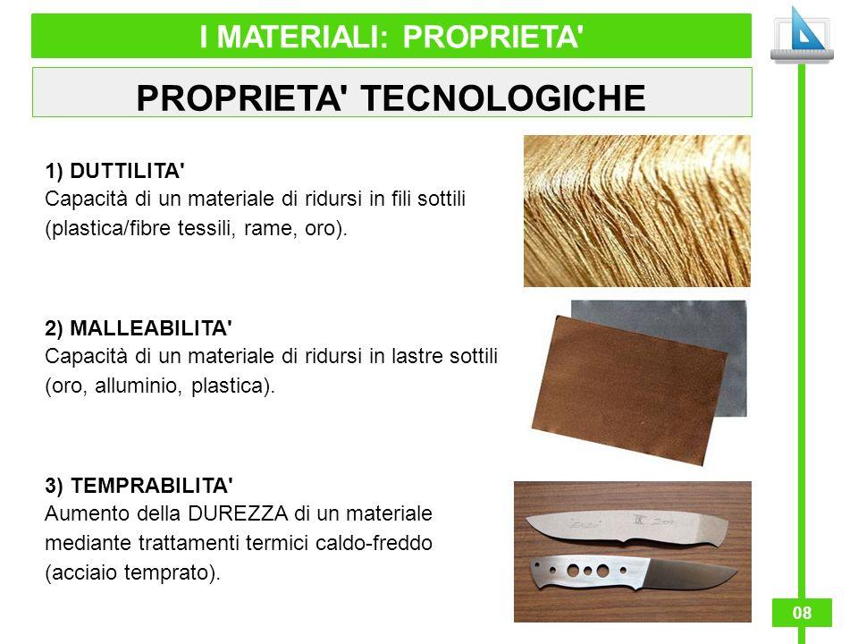 I MATERIALI: PROPRIETA PROPRIETA TECNOLOGICHE
