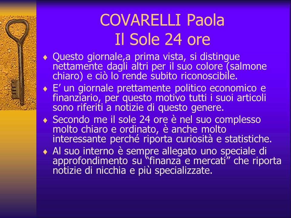 COVARELLI Paola Il Sole 24 ore