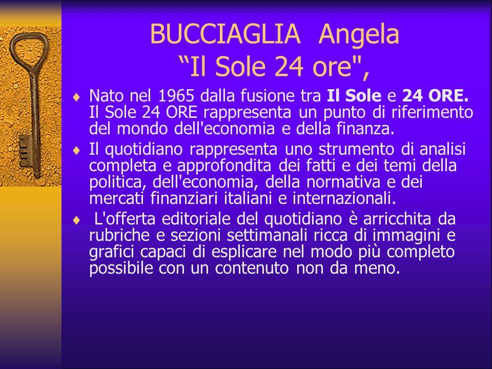 BUCCIAGLIA Angela Il Sole 24 ore ,