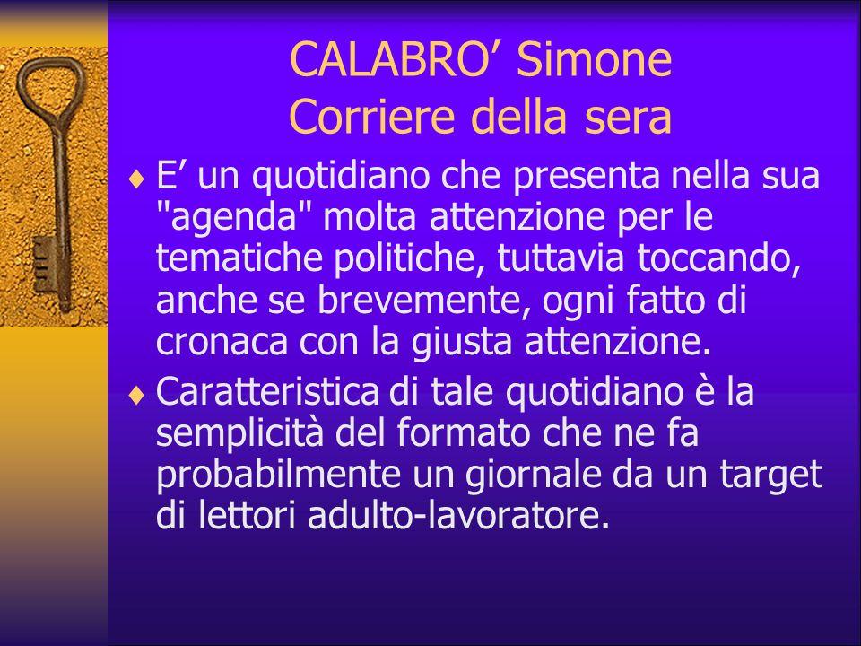 CALABRO' Simone Corriere della sera
