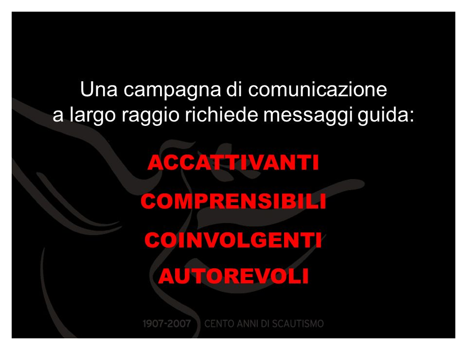 Una campagna di comunicazione a largo raggio richiede messaggi guida: