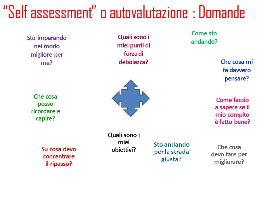 Self assessment o autovalutazione : Domande