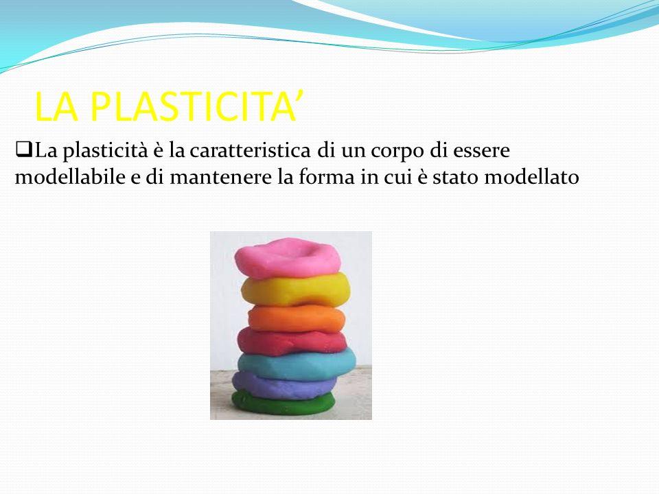 LA PLASTICITA' La plasticità è la caratteristica di un corpo di essere modellabile e di mantenere la forma in cui è stato modellato.