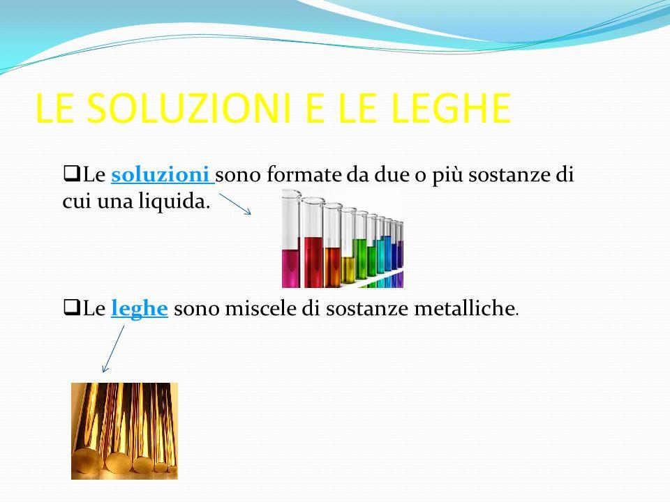 LE SOLUZIONI E LE LEGHE Le soluzioni sono formate da due o più sostanze di cui una liquida.