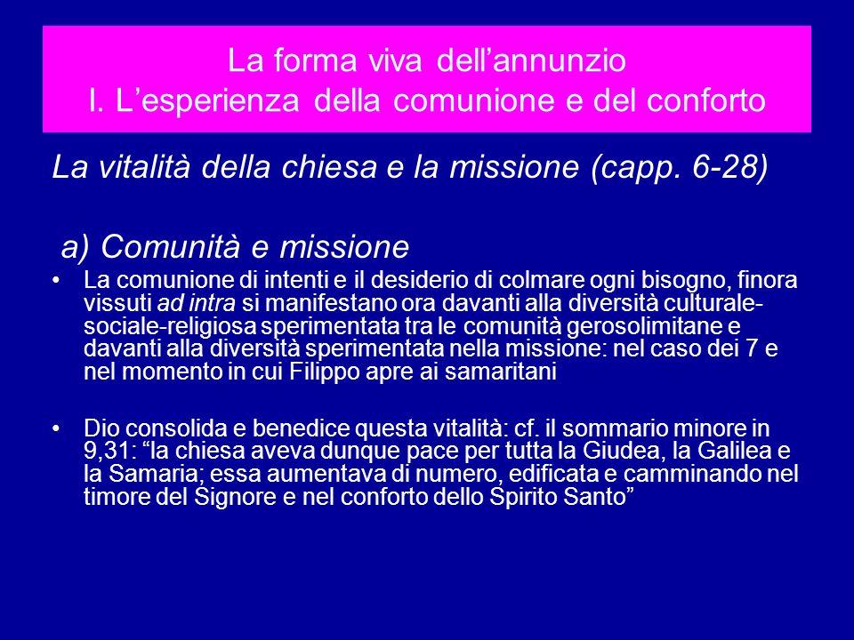 La vitalità della chiesa e la missione (capp. 6-28)