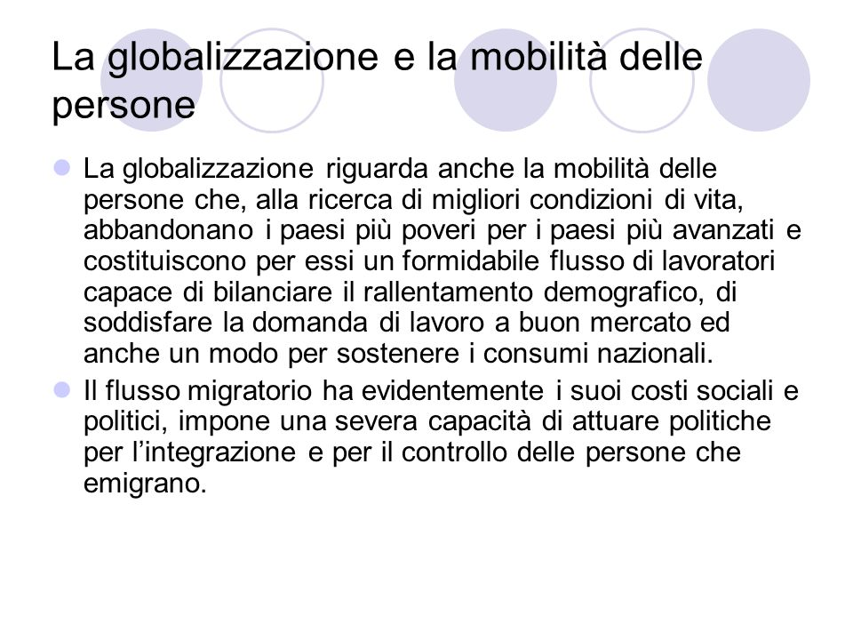 La globalizzazione e la mobilità delle persone